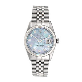 Rolex Datejust 18K White Gold & Stainless Steel Tahitian Mother Of Pearl Diamond Dial 36mm Unisex Watch