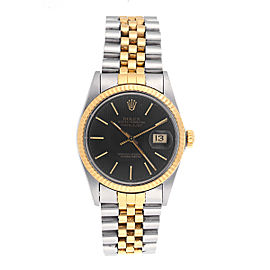 Rolex DateJust 16013 18k Yellow Gold Stainless Steel with Black Tapestry Dial 36 mm Mens Watch