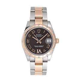 Rolex Datejust 31 178341 Chocolate Dial Stainless Steel and 18K Rose Gold Diamond 31mm Womens Watch