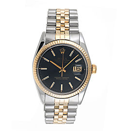 Rolex Datejust 16013 18K Yellow Gold & Stainless Steel Black Dial 36mm Unisex Watch