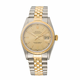 Rolex Datejust 16233 Two-Tone Stainless Steel and 18K Yellow Gold Chapmagne Stick Dial Automatic 36mm Unisex Watch