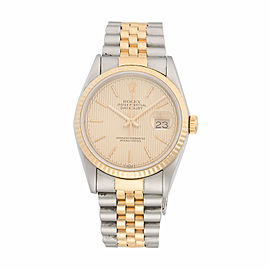 Rolex Datejust 16233 Two-Tone Stainless Steel and 18K Yellow Gold Chapmagne Stick Tapestry Dial Automatic 36mm Unisex Watch
