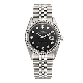 Rolex Datejust 16014 Stainless Steel Automatic with Custom Diamonds 36mm Unisex Watch
