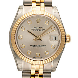Rolex Datejust Steel and Yellow Gold Silver Diamond Dial 31mm Watch