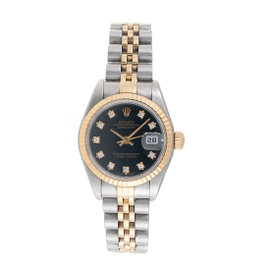 Rolex 69173 18K Yellow Gold and Stainless Steel Diamond Dial 26mm Womens Watch