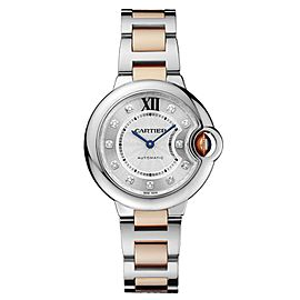 Cartier Ballon Bleu 33 18K Rose Gold & Stainless Steel Watch Diamond Dial on Bracelet WE902061