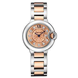 Cartier Ballon Bleu 28 18K Rose Gold & Stainless Steel Watch Diamond Dial on Bracelet WE902052