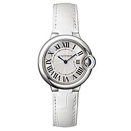 Cartier Ballon Bleu 33 Stainless Steel Watch Silver Dial on White Leather Strap W6920086