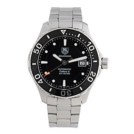 Tag Heuer Men's Aquaracer Calibre 5 Stainless Steel Black Dial Watch WAN2110