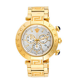 Versace Date VQZ080015 Yellow Gold Plated Stainless Steel Quartz 46mm Mens WatchDate