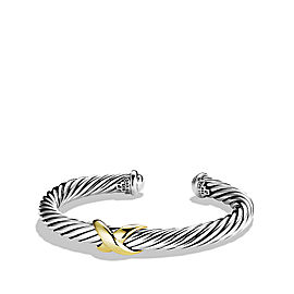 David Yurman Sterling Silver & 18K Yellow Gold X Crossover Cuff Bracelet