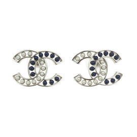 Chanel Silver Tone Blue Simulated Glass Pearl Bubble CC Stud Earrings