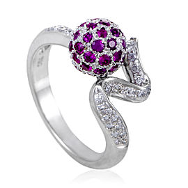 Zoccai 18K White Gold Diamond and Ruby Sphere Ring Size 6.5
