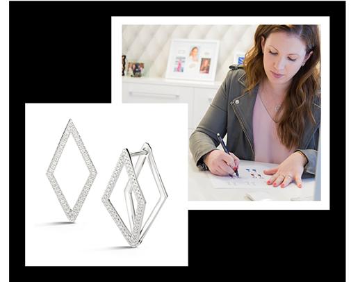 Dana Rebecca Designs's Cutout Elongated Diamond Earrings