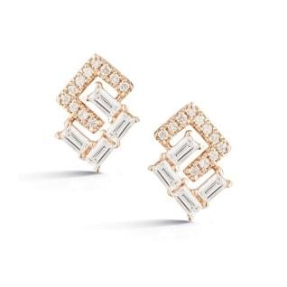 Dana Rebecca Designs Geo Baguette and Pave Earrings