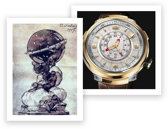 A Sketch of the Original Constellation Faberge Egg and the Visionnaire Watch
