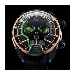 HYT Skull Watch in Green and Gold